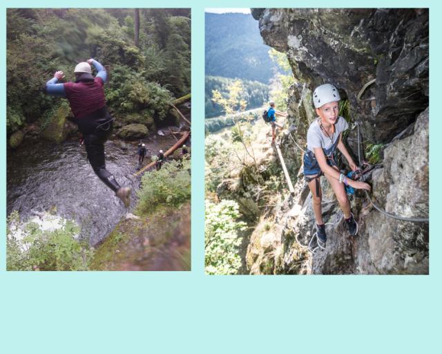 Klettersteig, Klettern, Schluchtenwandern, Gleitschirmfliegen, Überlebenstraining, Höhlenwandern