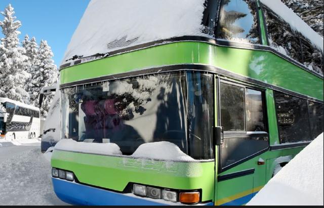 Schnee Busses zu den Skigebiete