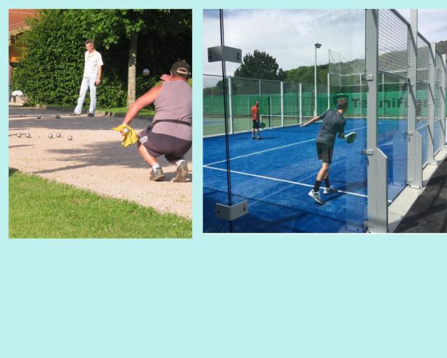Tennis, Pétanque, Kegeln, Padel-Tennis
