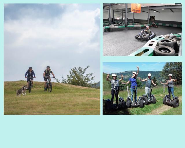 Mountain bike, Road bike, Segway, Karting, Rollerblades...